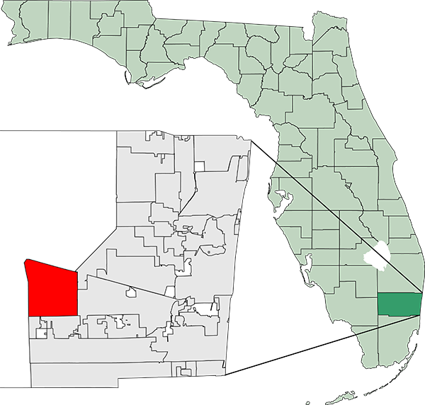 Map of Florida highlighting Weston